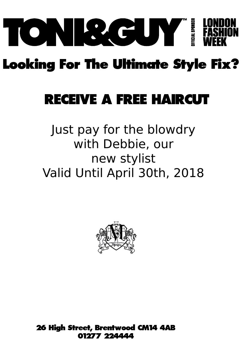 Free Haircut with DebbieImage with link to high download printable copy